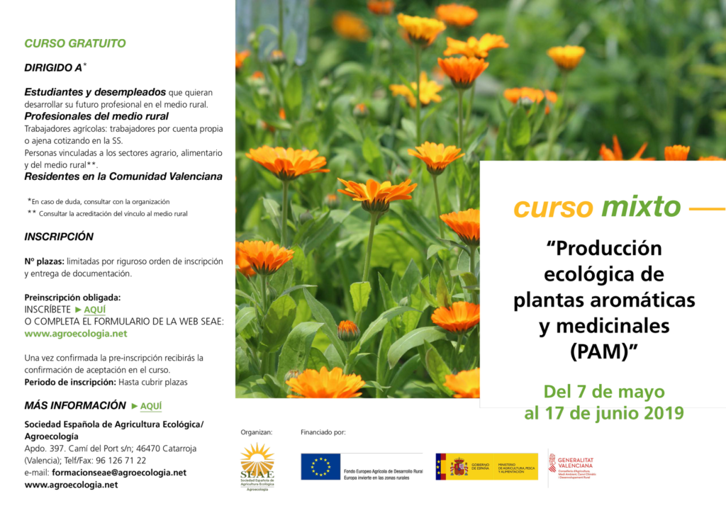 """Curso mixto: """"Producción ecológica de plantas aromáticas y medicinales (PAM)"""" @ Plataforma de Formación SEAE. La ubicación de la sesión presencial se indicará a los alumnos."""