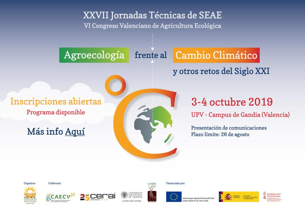 XXVII Jornadas Técnicas de SEAE. VI Congreso Valenciano de Agricultura Ecológica @ UPV-Campus de Gandía (Valencia)