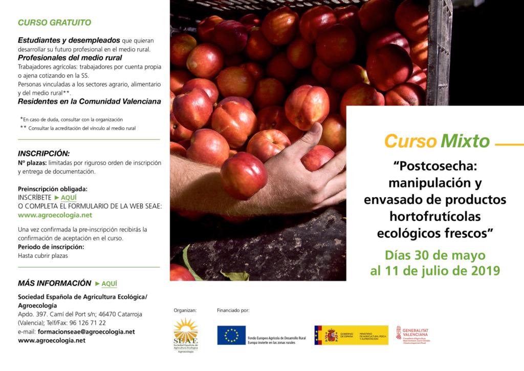 """Curso mixto: """"Postcosecha: manipulación y envasado de productos hortofrutícolas ecológicos frescos"""" @ Plataforma de Formación SEAE. La ubicación de la sesión presencial se indicará a l@s alumn@s"""
