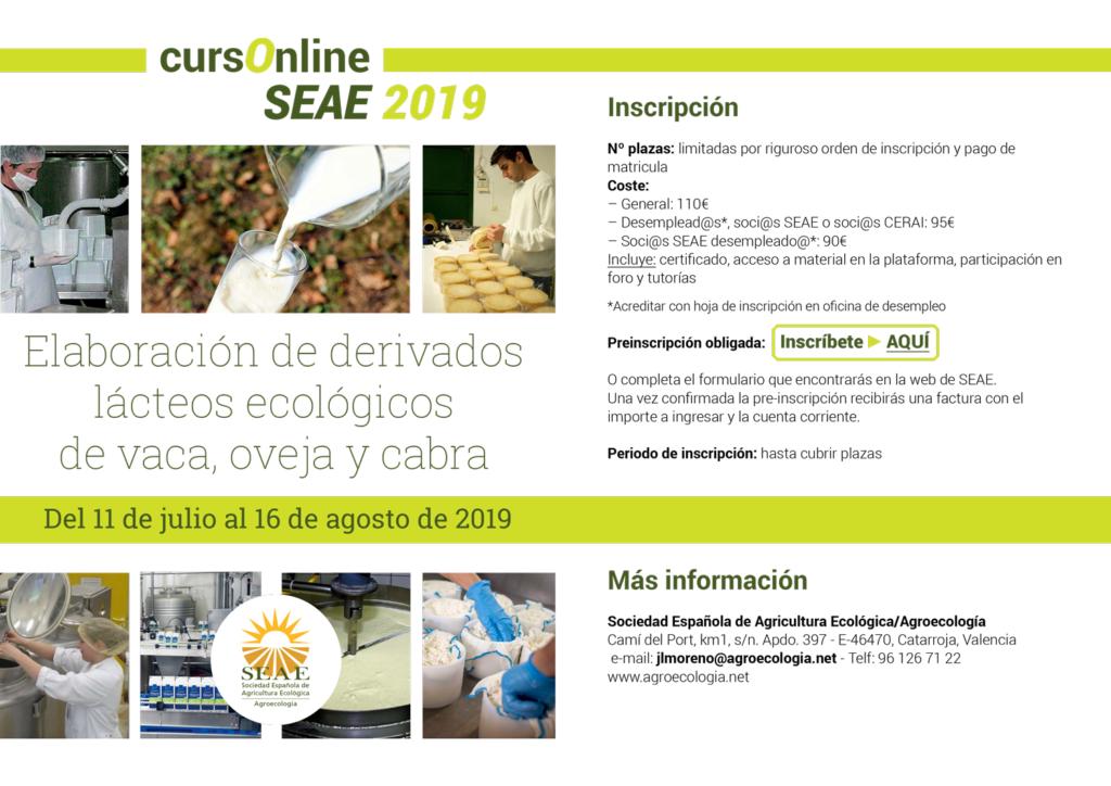 """Curso online: """"Elaboración de derivados lácteos ecológicos de vaca, oveja y cabra"""" @ Plataforma de Formación SEAE"""
