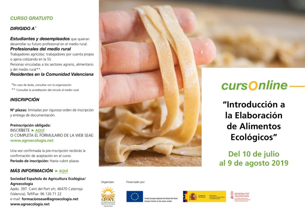 """Curso online: """"Introducción a la Elaboración de Alimentos Ecológicos"""" @ Plataforma de Formación SEAE"""