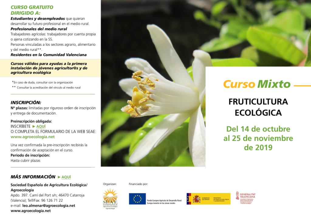 Curso mixto: Fruticultura ecológica @ Plataforma de Formación SEAE. La ubicación de la sesión presencial se indicará a l@s alumn@s