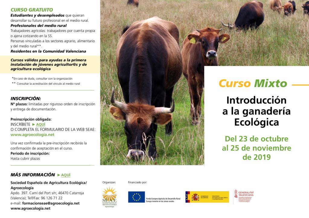 Curso mixto: Introducción a la ganadería Ecológica @ Plataforma de Formación SEAE. La ubicación de la sesión presencial se indicará a l@s alumn@s