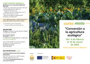 """Curso mixto: """"Conversión a la agricultura ecológica"""" @ Plataforma online SEAE. La ubicación de la sesión presencial se indicará más adelante"""