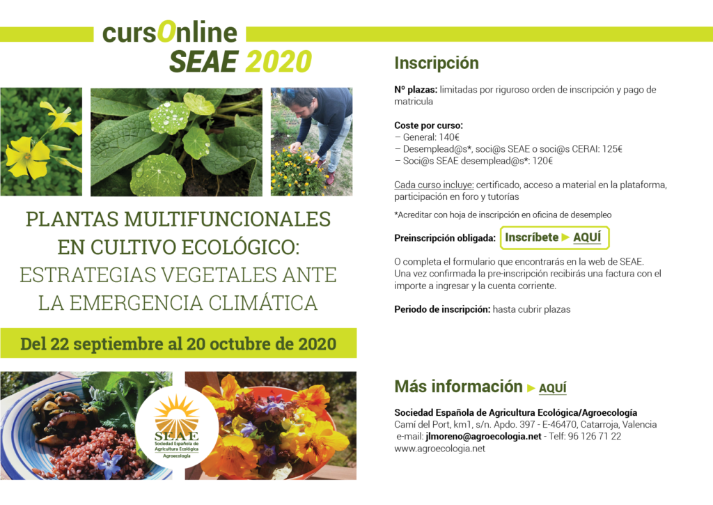 """Curso online: """"Plantas multifuncionales en cultivo ecológico: estrategias vegetales ante la emergencia climática"""". @ Plataforma SEAE de Formación Online"""