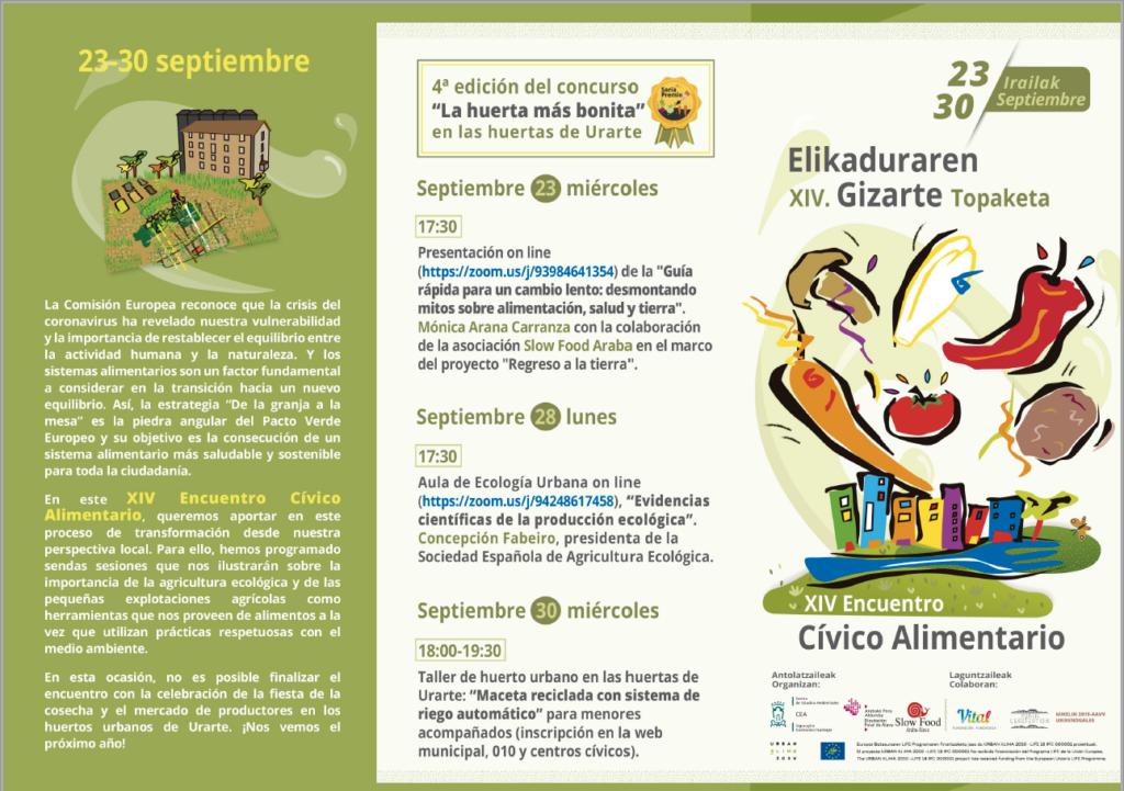 """Charla online: """"Evidencias científicas de la producción ecológica"""" - XIV Encuentro Cívico Alimentario @ Aula de Ecología Urbana Online, via zoom - https://zoom.us/j/94248617458"""