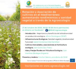 """Webinar """"Rotación y asociación de cultivos en el Mediterráneo: aumentando rendimientos y sanidad vegetal a través de la Agroecología"""" @ FACEBOOK LIVE"""