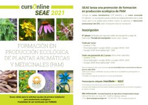 Formación online sobre Producción Ecológica de Plantas Aromáticas y Medicinales (PAM) 2021 @ Plataforma de Formación Online